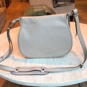 Banana Republic Creme Leather Saddle Bag Crossbody